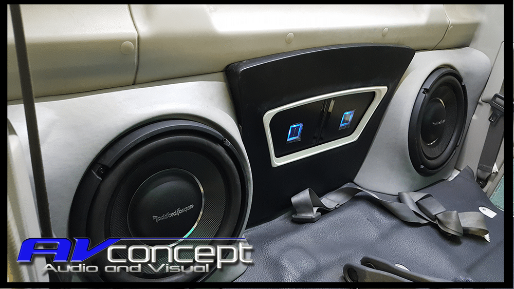79 series Toyota Landcruiser Stereo Subwoofer behind seats